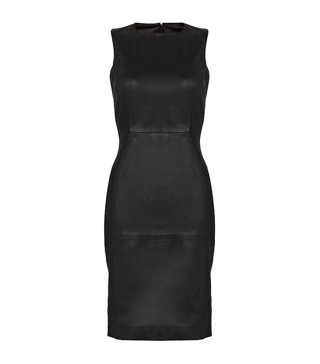 FRENCH CONNECTION   black block leather dress