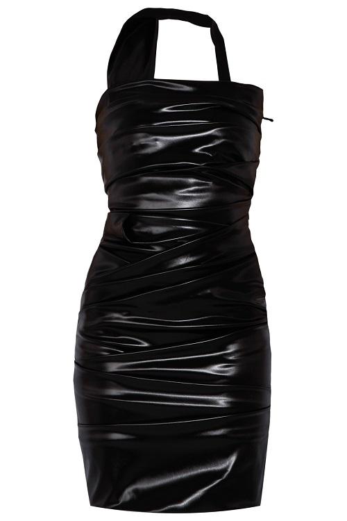 PREEN   black wet ripple dress