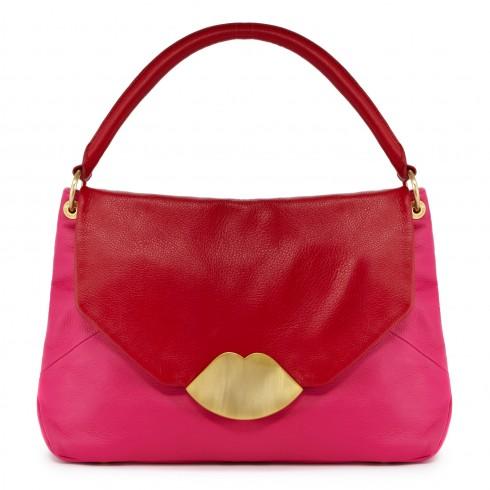 pink & red leather medium nicola   shoulder bag