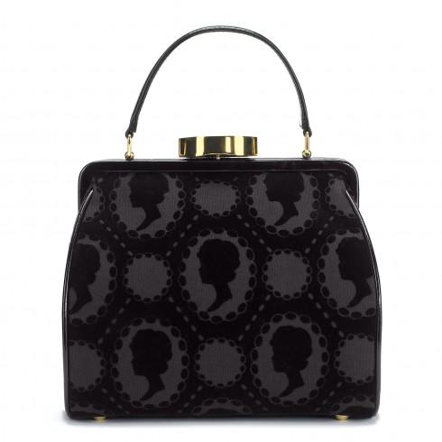 black flocked cameo   small eva handbag