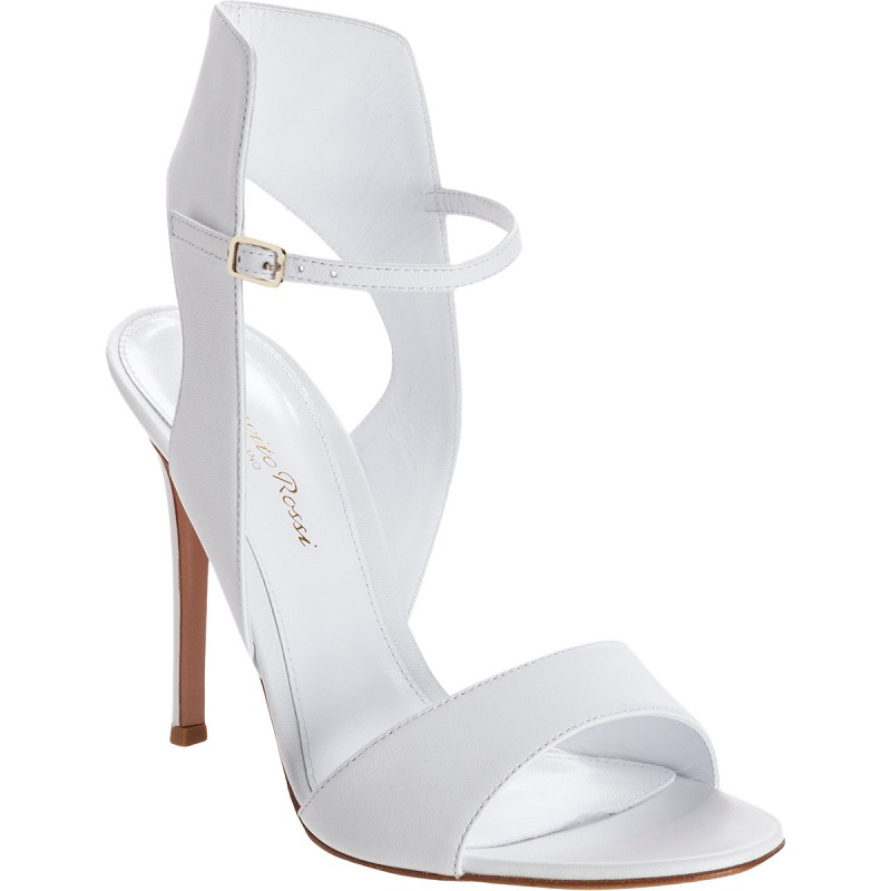 GIANVITO ROSSI   white posted ankle strap sandal