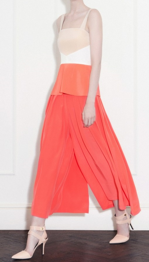 Off white nude and coral silk crepe cady top / Coral crepe de chine high waisted gaucho trousers