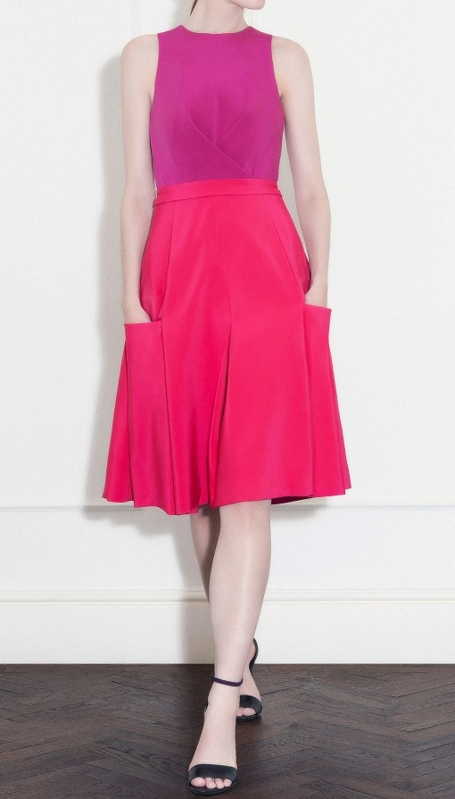 Fuchsia and magenta silk crepe cady dress with pockets