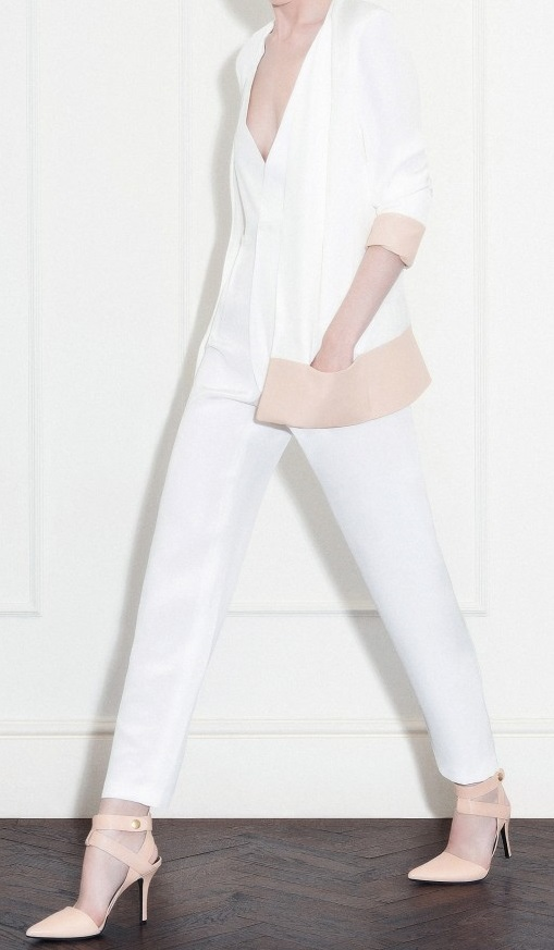 Off white silk crepe cady jacket with nude leather pocket and cuffs / Off white silk crepe cady double breasted jumpsuit