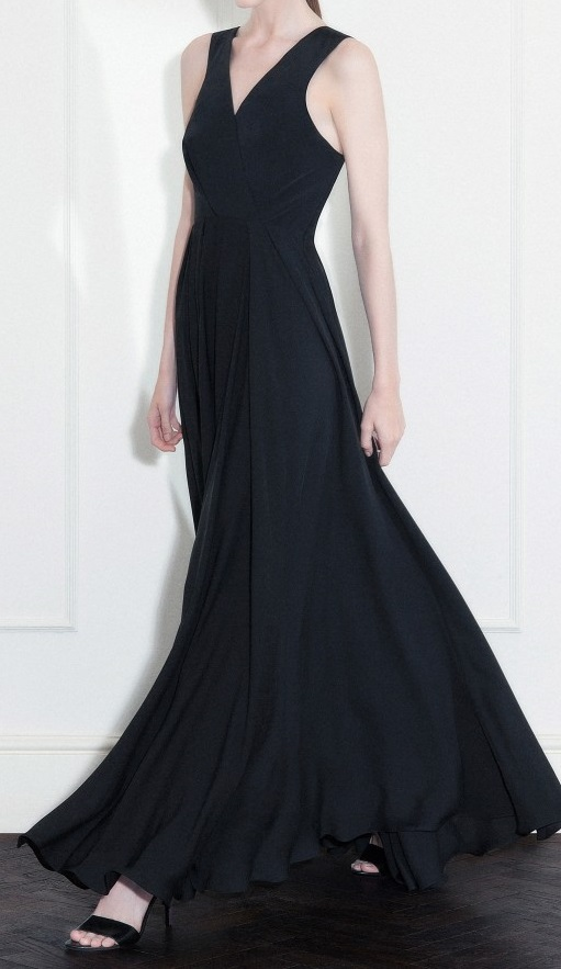 Black silk crepe cady and double georgette long dress