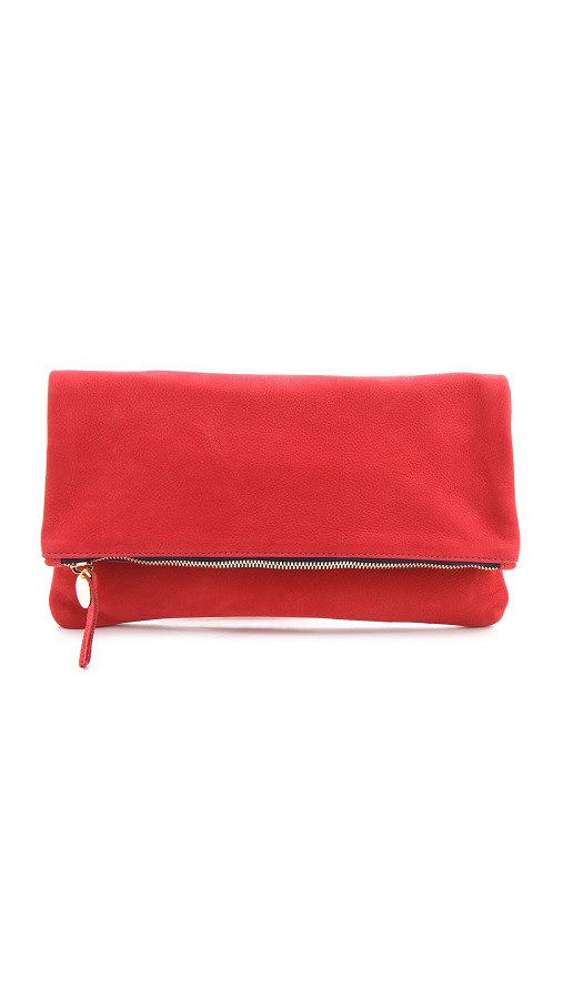 CLARE VIVIER   red fold over clutch
