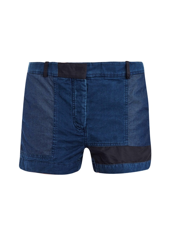 ACNE   denim patchwork shorts   currently 30% off