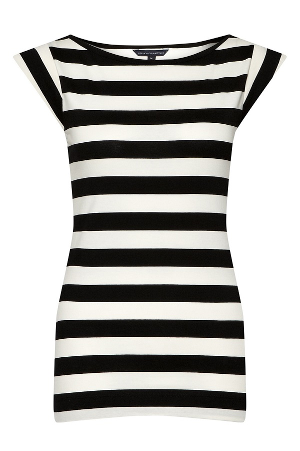 FRENCH CONNECTION   cap sleeve striped t-shirt