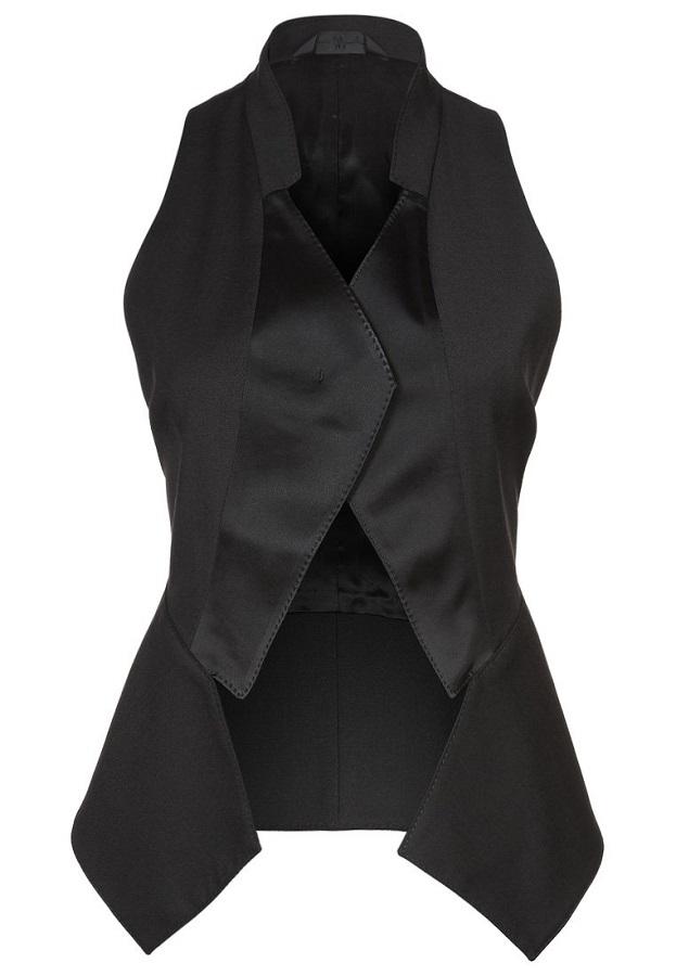 black asymmetric   waistcoat