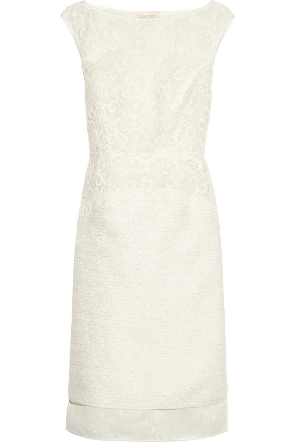 GIAMBATTISTA VALLI   macramé-lace and tweed dress