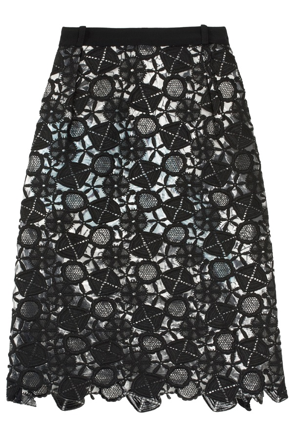 PREEN   latex lace lined A-line skirt