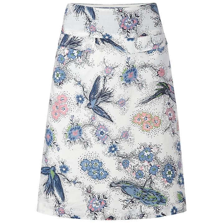 WHITE STUFF   bird print A-line skirt