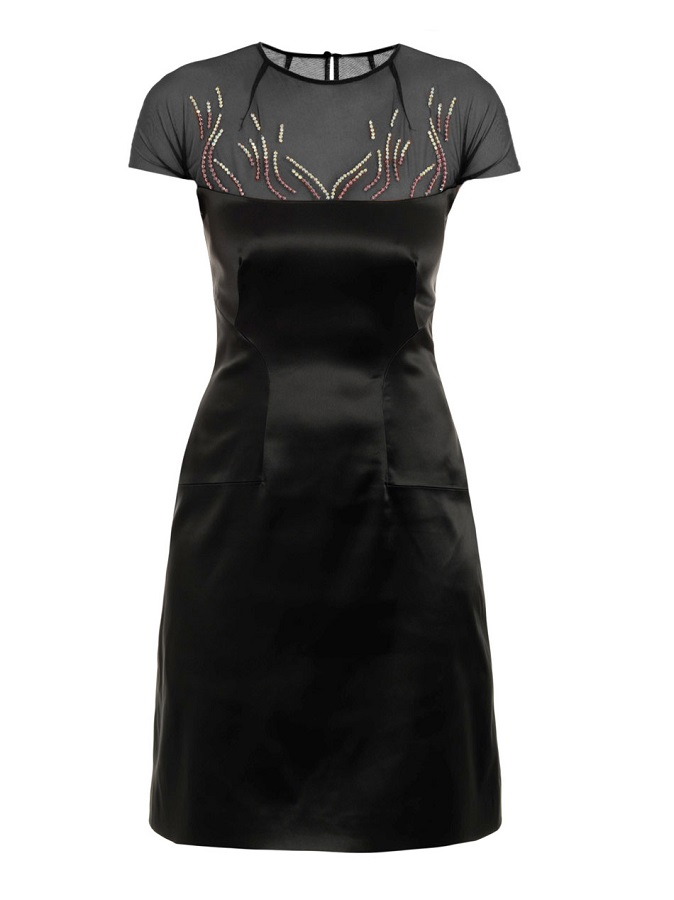 Embroidered   stretch satin dress
