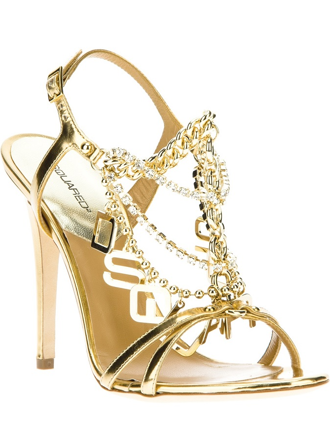 DSQUARED2 gold chain   ankle strap sandal
