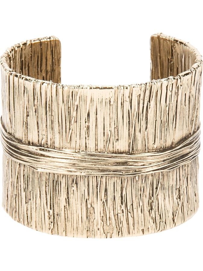 AURELIE BIDERMANN gold textured   cuff bracelet