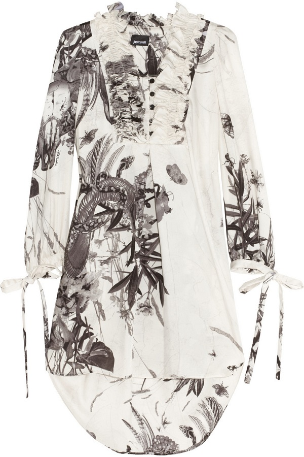 JUST CAVALLI   printed sateen dress   currently 55% off
