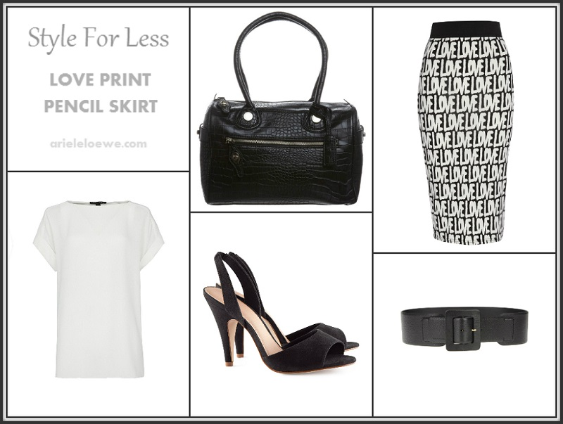 Style For Less Love Print Pencil Skirt