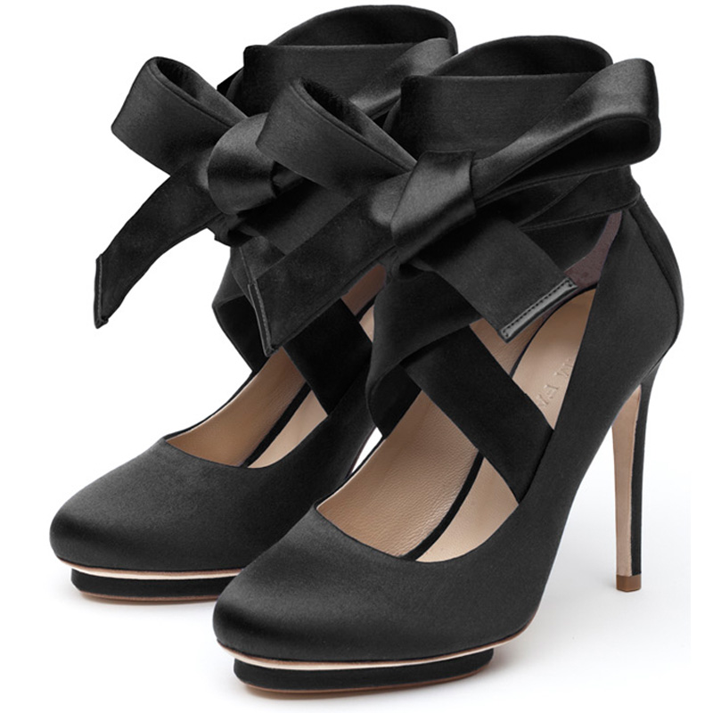Charlotte black satin   platform pump