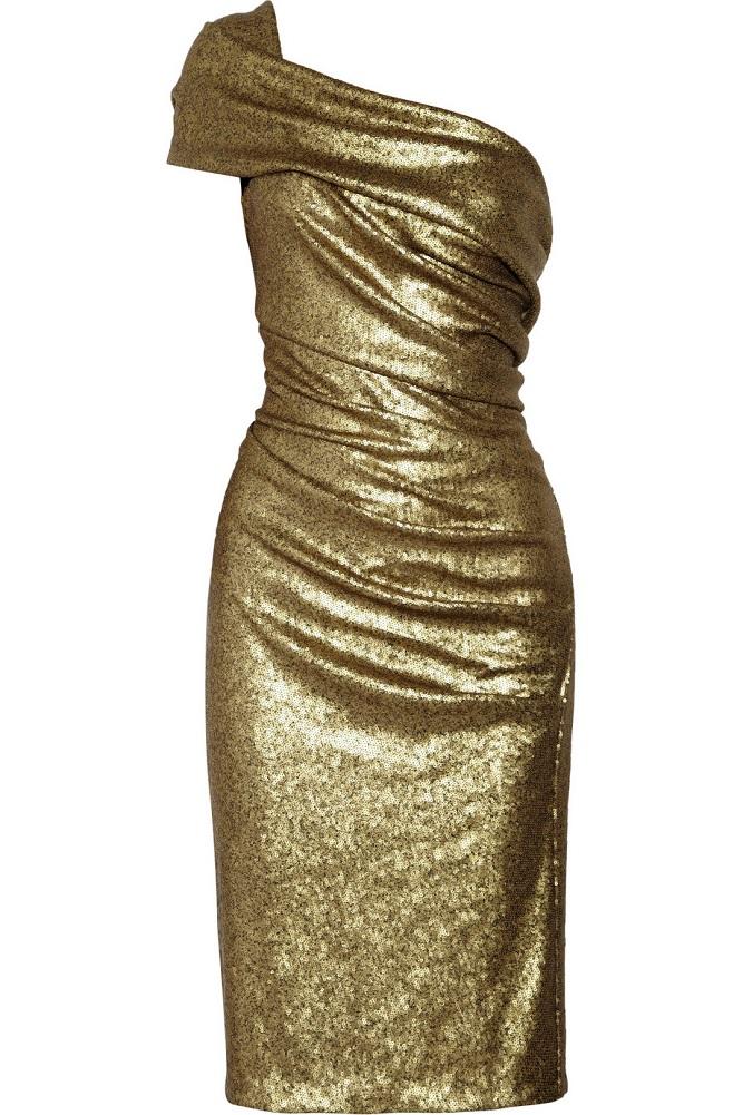 DONNA KARAN sequined stretch tulle   one-shoulder dress   currently 75% off