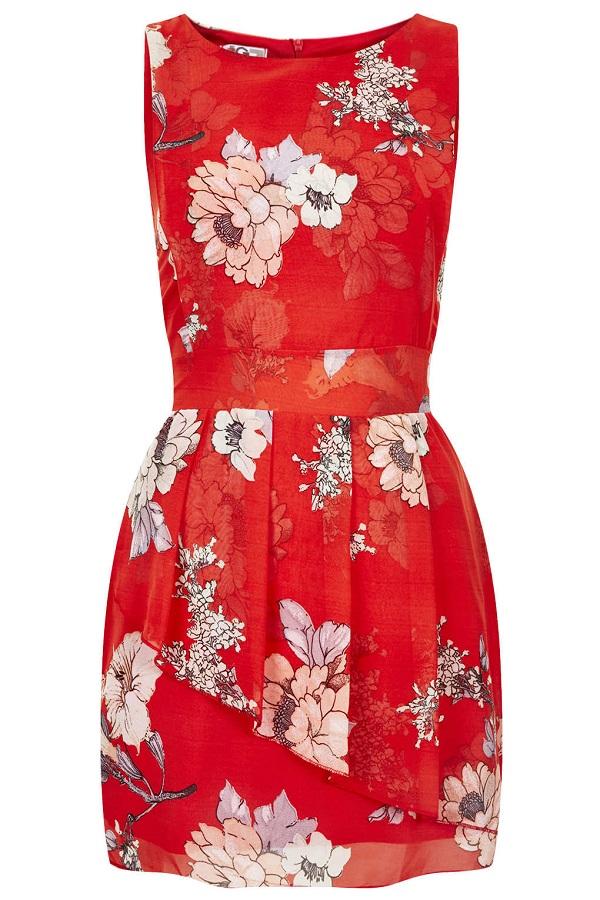 TOPSHOP red floral print   peplum dress