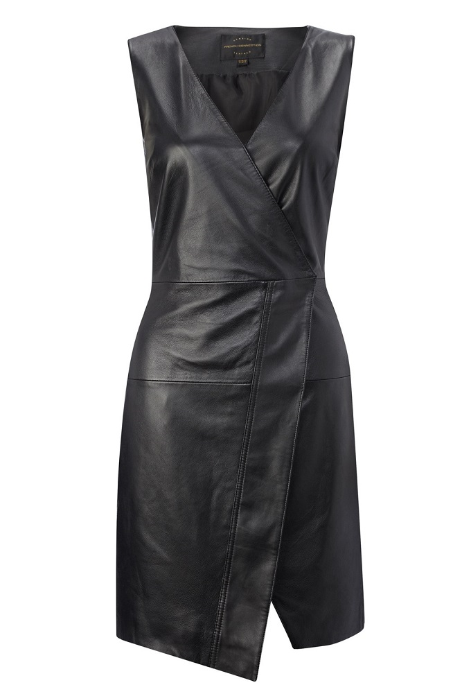 FRENCH CONNECTION   leather wrap dress   currently 70% off