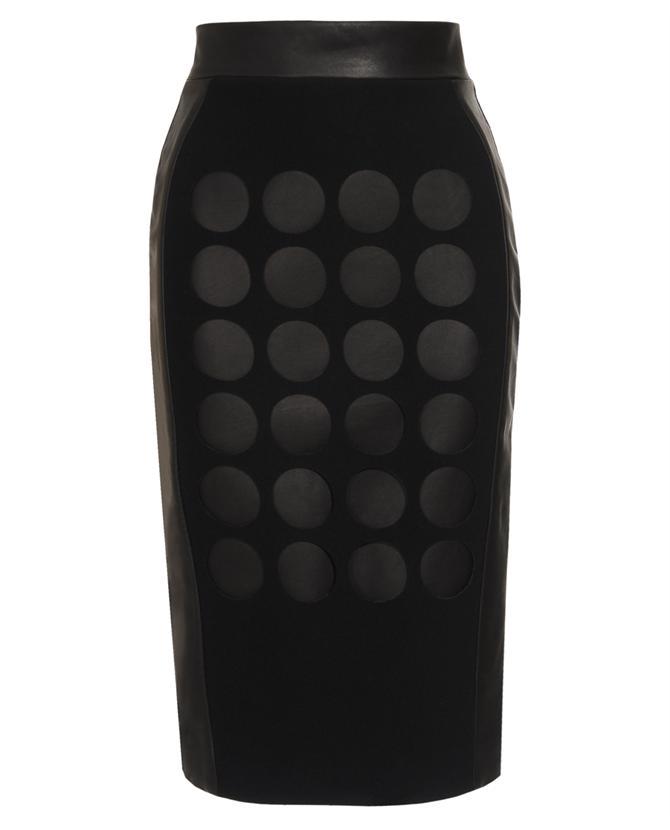 DAVID KOMA laser cut   leather & wool pencil skirt