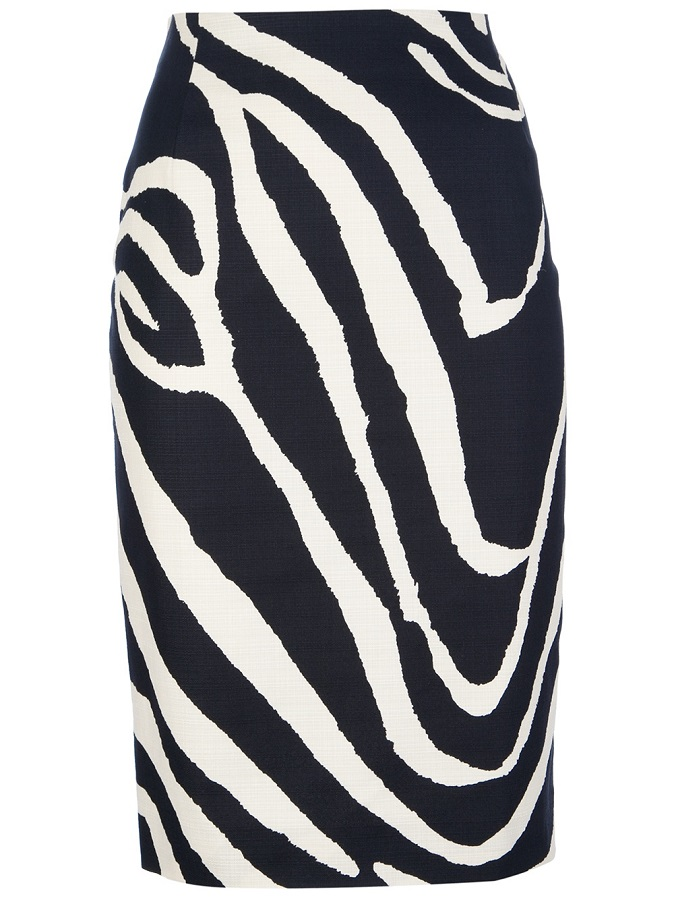 MAX MARA STUDIO   zebra print pencil skirt
