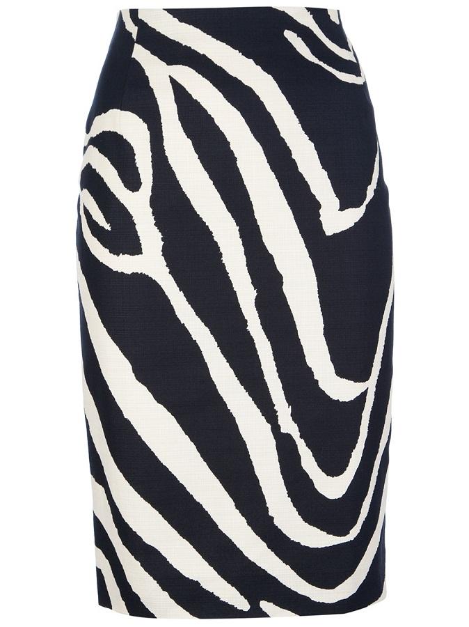 MAX MARA STUDIO   zebra print pencil skirt