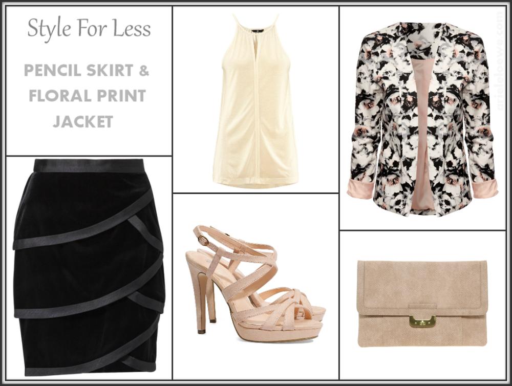 Pencil Skirt & Floral Print Jacket