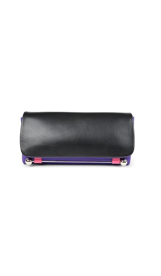 tri-coloured leather   clutch bag