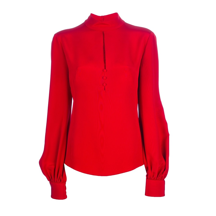ALEXANDER MCQUEEN red   slit detail blouse