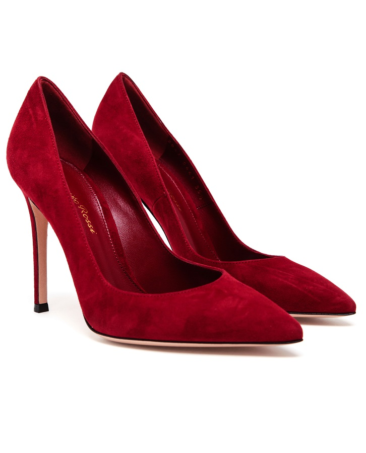 GIANVITO ROSSI red   suede pumps