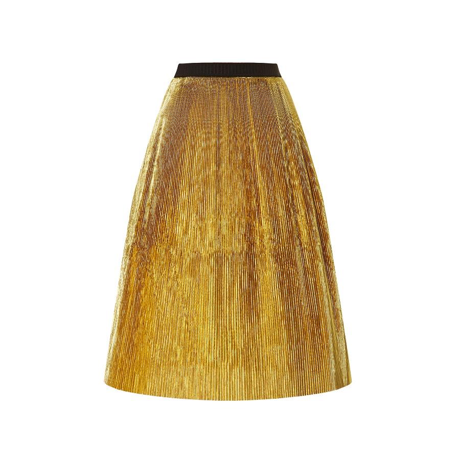 MARNI gold   pleated lurex skirt