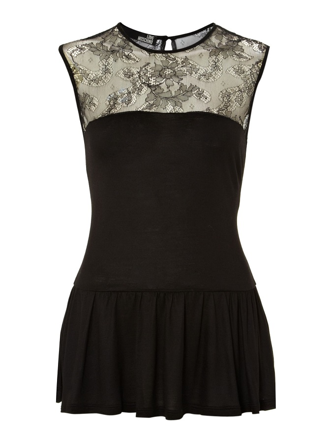 LOVE MOSCHINO   peplum top   with lace yoke currently 70% off
