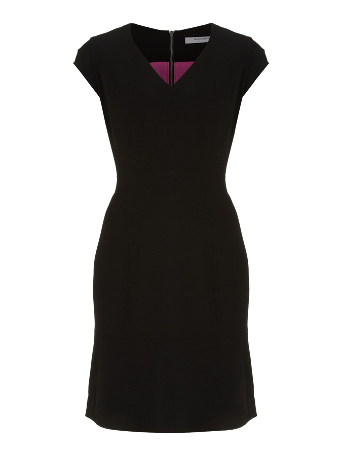 ANDREW MARC fluted hem shift dress