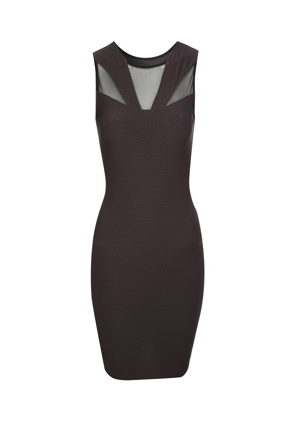 JANE NORMAN waffle mesh  panel   bodycon dress   - currently 50% off