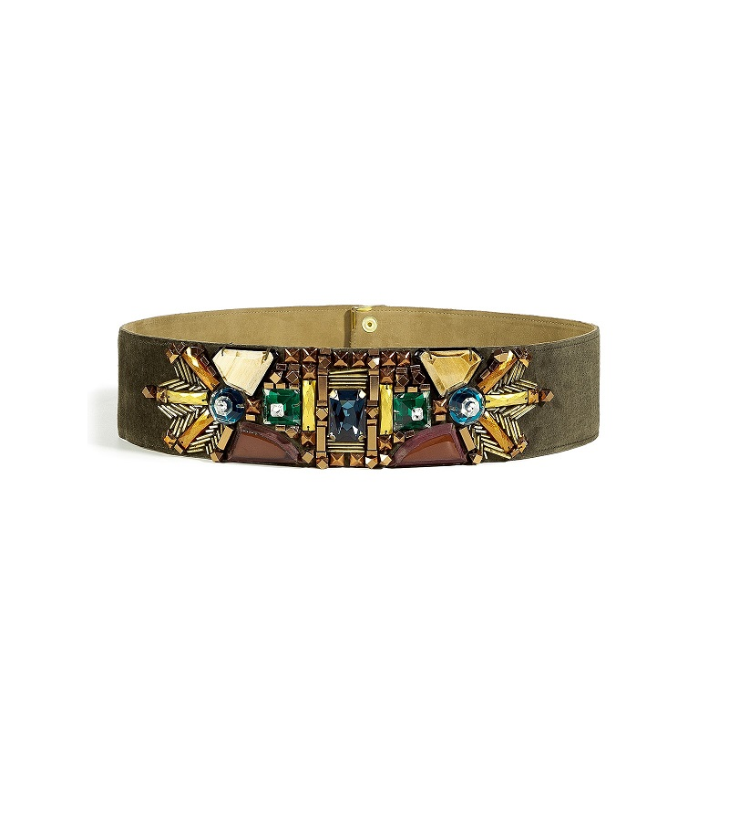 MATTHEW WILLIAMSON khaki  wide beaded belt  - currently 70% off