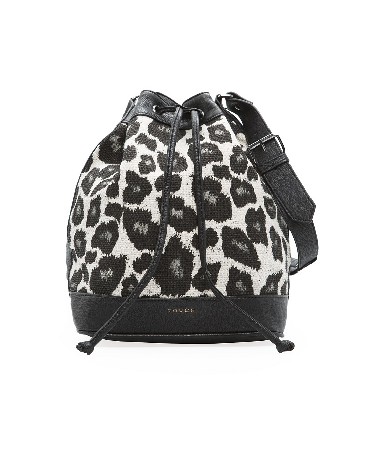 MANGO  TOUCH   leopard print bucket bag