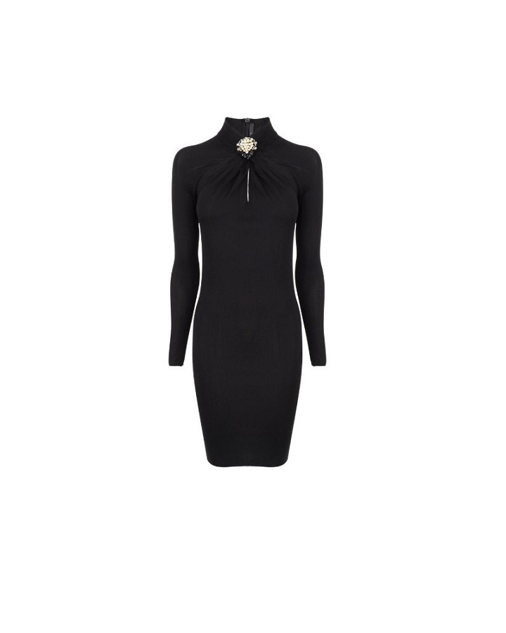 GUCCI long sleeve   brooch midi dress