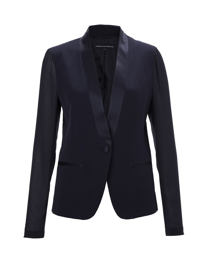 FRENCH CONNECTION  over the edge   tuxedo style jacket   currently 60% off