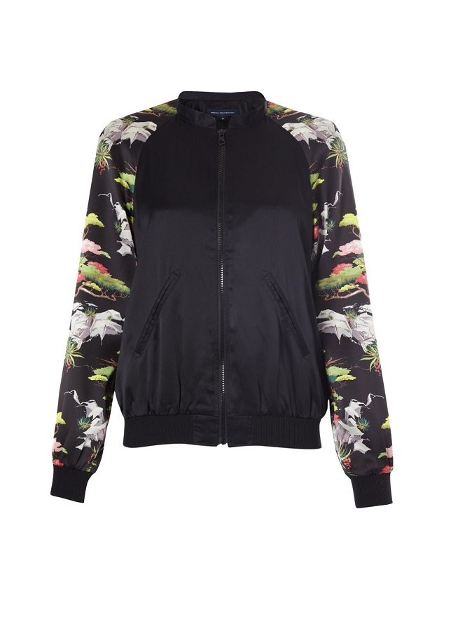 FRENCH CONNECTION  cabana silk   bomber jacket   currently 60% off