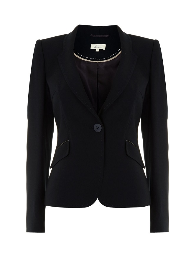 LINEA navy pu trim   single breasted tailored jacket
