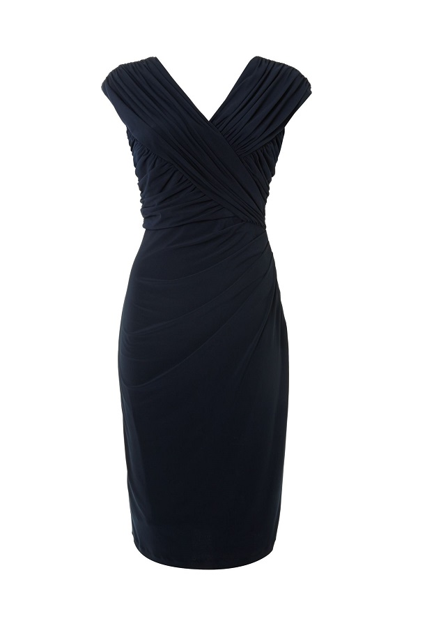 UNTOLD navy cross front   sleeveless fitted  jersey dress