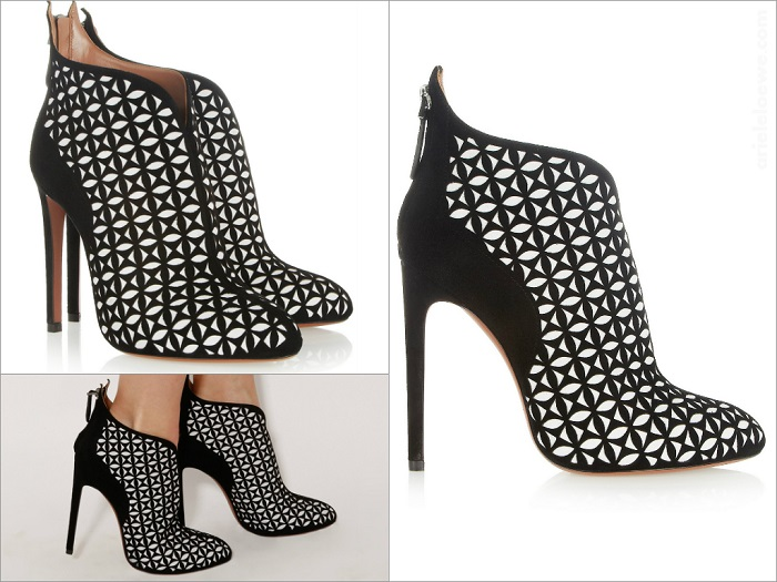 Just One Thing Alaïa Laser Cut Suede Bootie