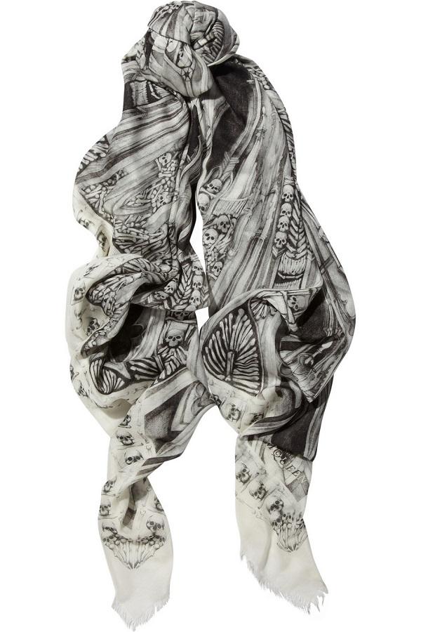 ALEXANDER MCQUEEN   printed fine knit modal blend scarf