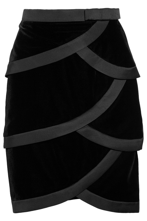 VALENTINO   satin  trimmed tiered velvet skirt - currently 65% off