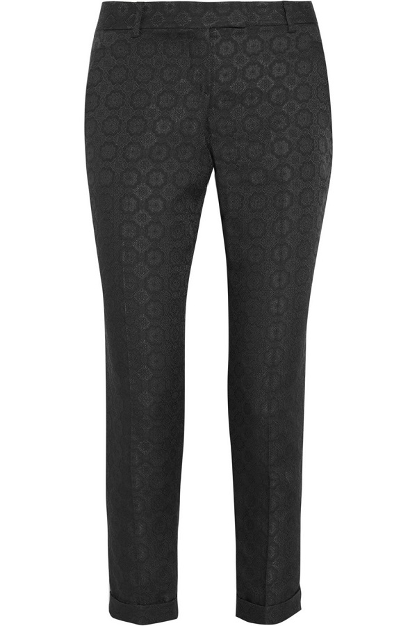 THEORY   marsienna jacquard tapered trousers