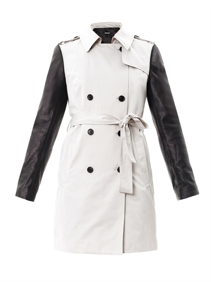 DKNY   white leather sleeve  trench coat