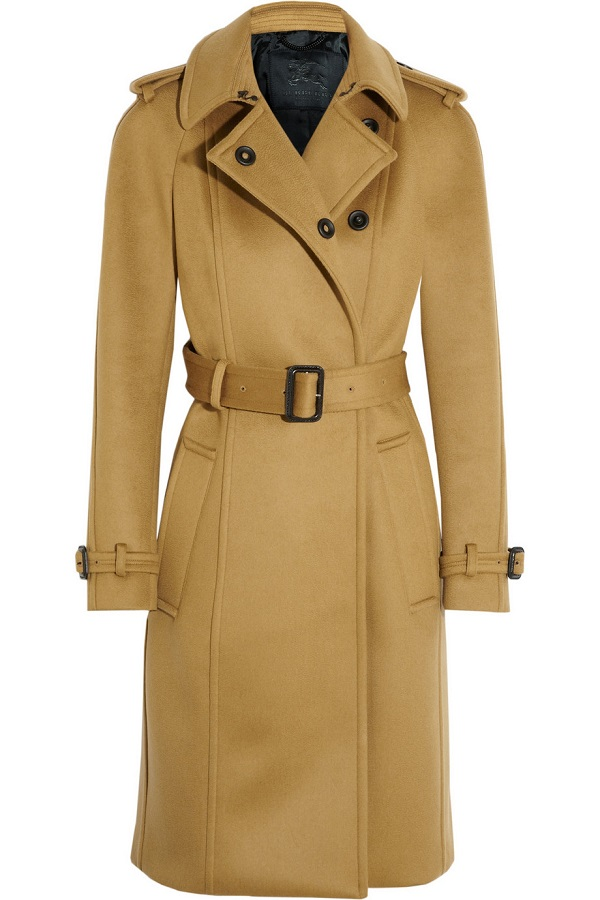 BURBERRY PRORSUM   brown brushed cashmere blend trench coat