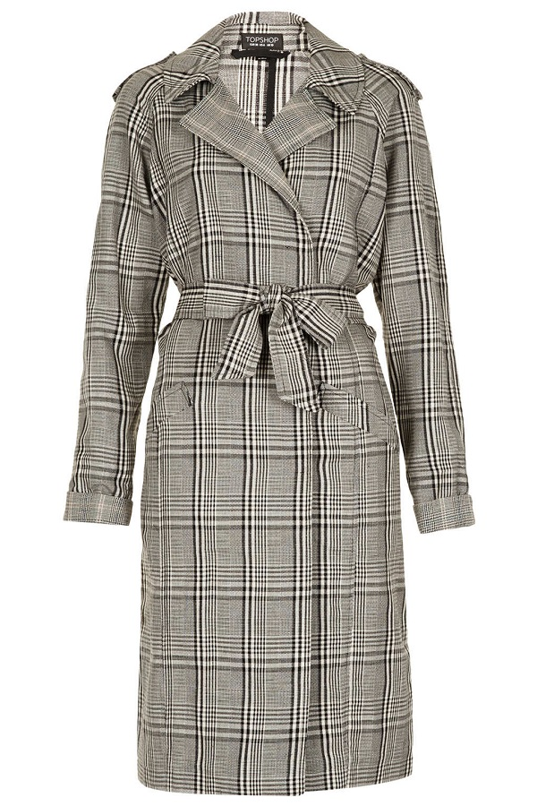 TOPSHOP   grey check trench coat
